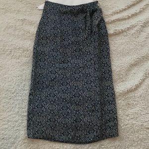 Valerie Stevens Navy Floral Silk Wrap Skirt
